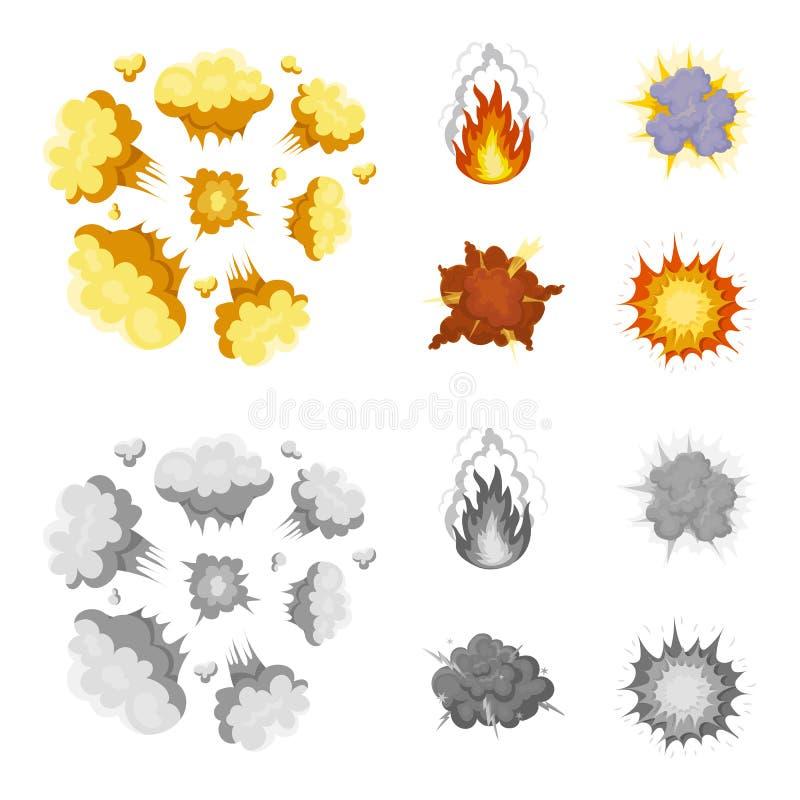 Vlam, vonken, waterstoffragmenten, atoom of gasexplosie, onweersbui, zonneexplosie Explosies geplaatst inzameling vector illustratie