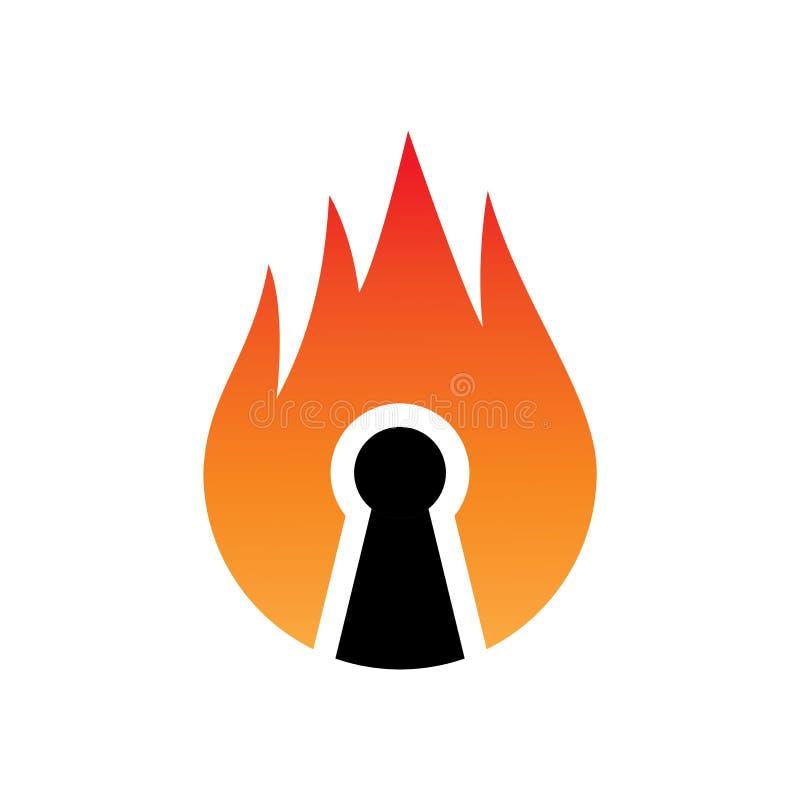 Vlam zeer belangrijk slot Logo Vector royalty-vrije illustratie