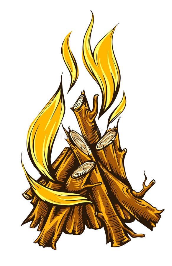 Vlambrand van kampvuur met brandhout stock illustratie