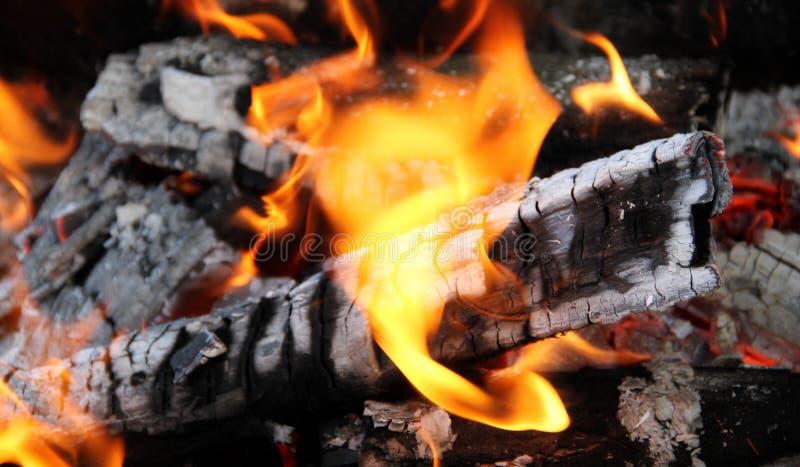 Vlamdansen op verkoolde brandhoutlogboeken bij vuur stock foto