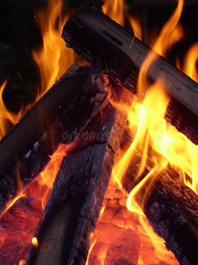 Vlammen die rond hout ineenstrengelen stock afbeelding