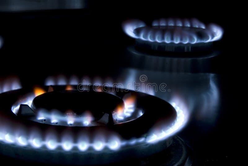 Vlammen van gas stock fotografie