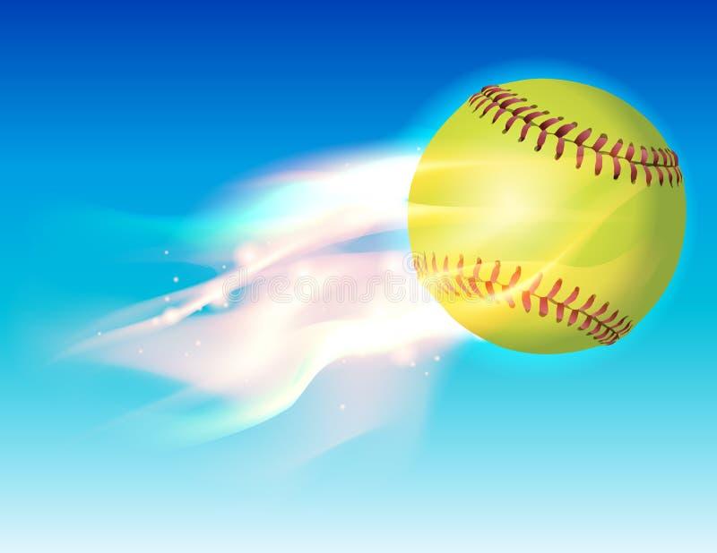 Vlammend Softball in Hemelillustratie vector illustratie