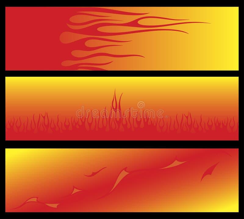 Vlammende banners vector illustratie