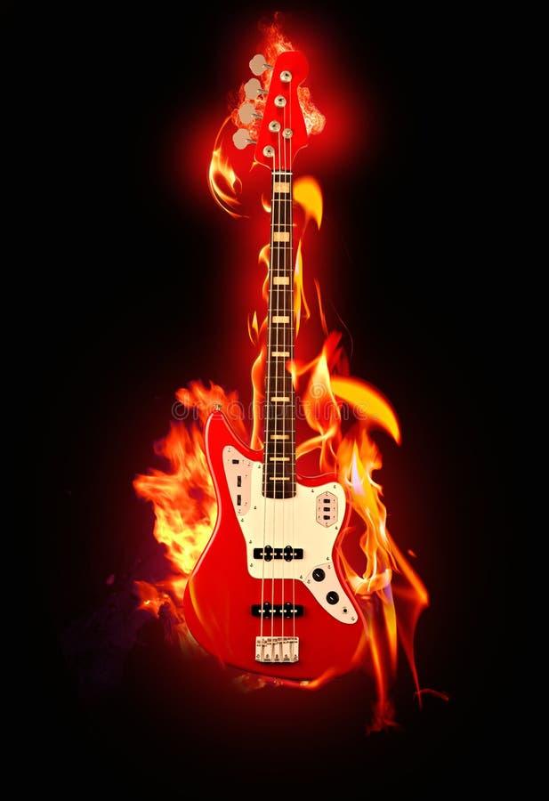 Vlammende gitaar royalty-vrije stock foto's