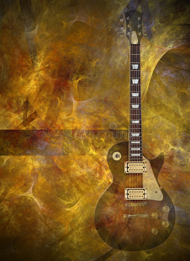 Vlammende gitaar vector illustratie