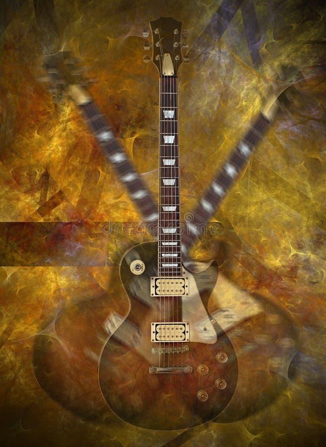 Vlammende gitaar royalty-vrije illustratie