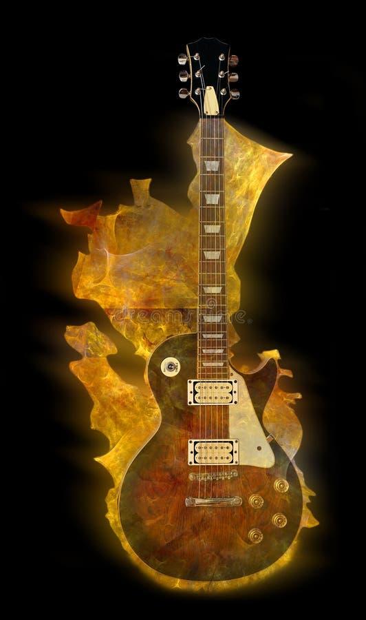 Vlammende gitaar stock illustratie