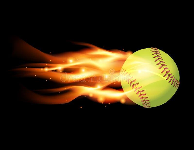 Vlammende Softballillustratie royalty-vrije illustratie