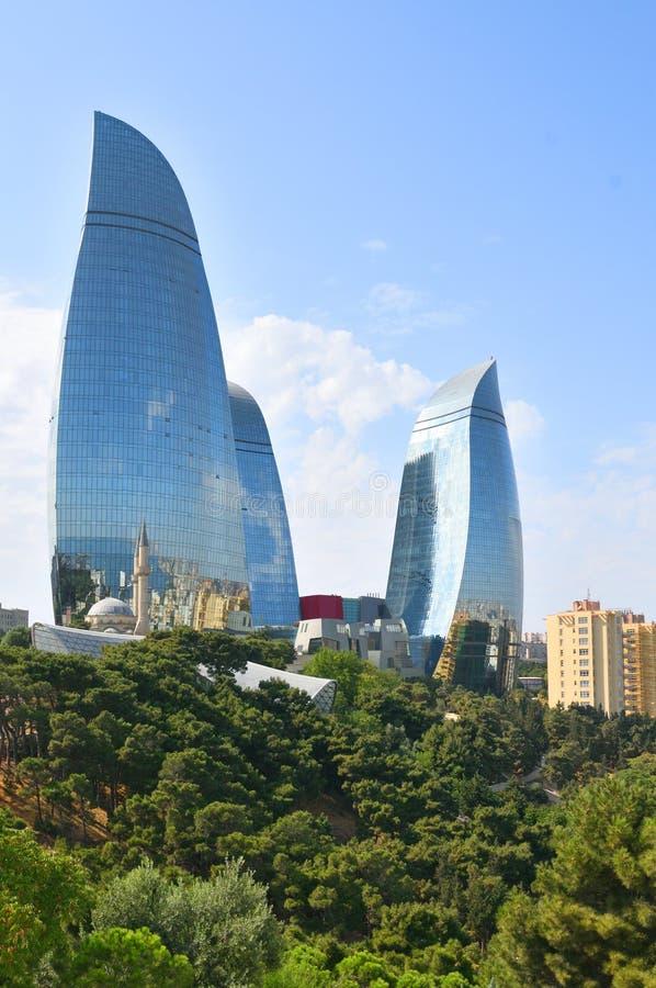 Vlamtorens in Baku royalty-vrije stock foto's