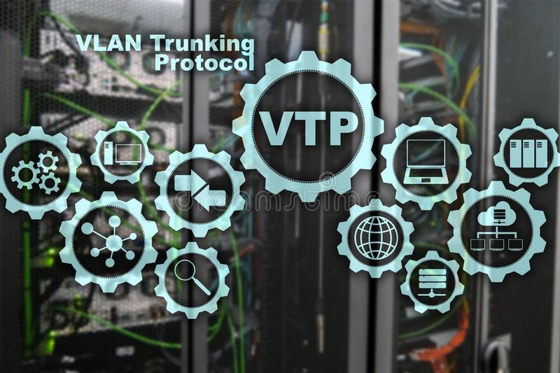 VLAN Trunking Protocol. Virtual Local Area Network. VTP. VLAN Trunking Protocol. Virtual Local Area Network. VTP stock illustration