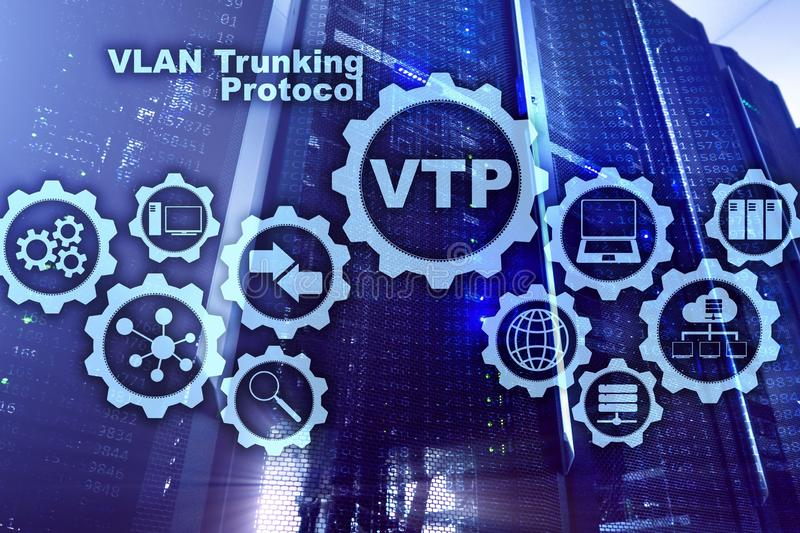 VLAN Trunking Protocol. Virtual Local Area Network. VTP. VLAN Trunking Protocol. Virtual Local Area Network. VTP royalty free illustration