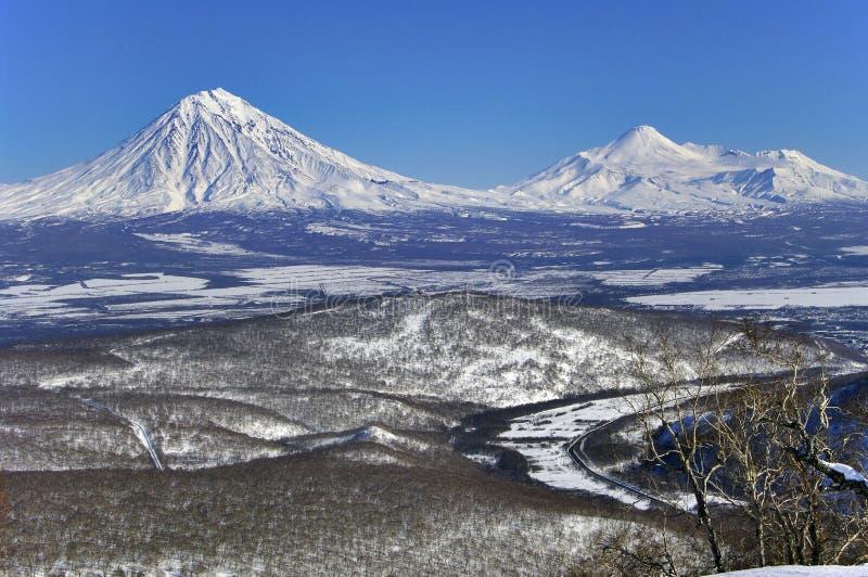 Vlcanoes of Kamchatka Peninsula. royalty free stock photography