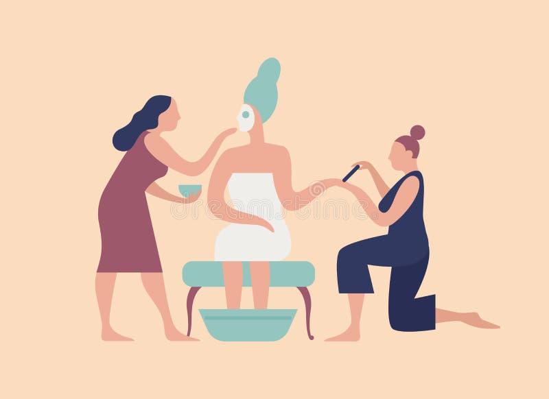 Vlecht met gezichtsmasker op gezicht en paar medewerkers die manicure en pedicure maken Bruids ochtendroutine, voorbereiding royalty-vrije illustratie