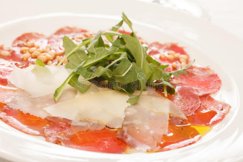 Vlees Carpaccio stock foto's
