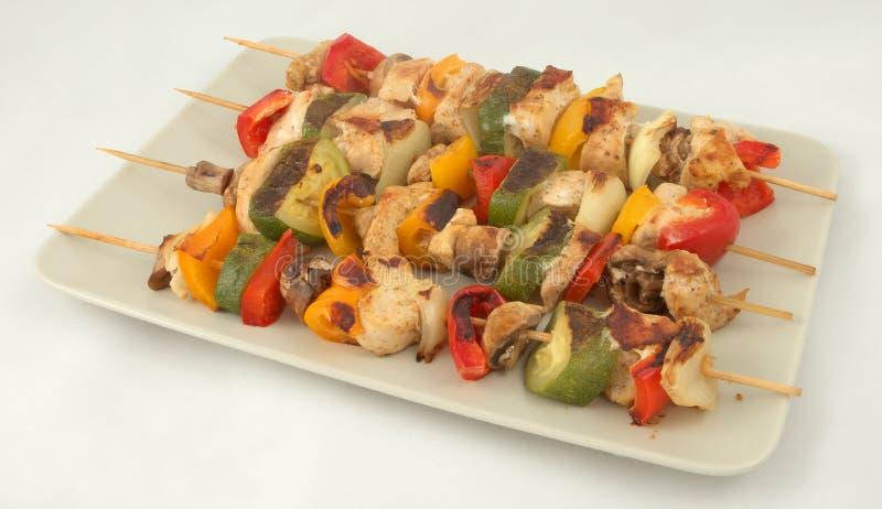 Vlees en plantaardige kebab royalty-vrije stock foto's