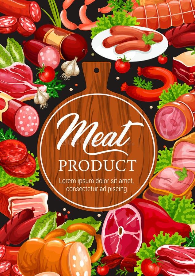 Vlees en van de worstenslager delicatessenproducten stock illustratie