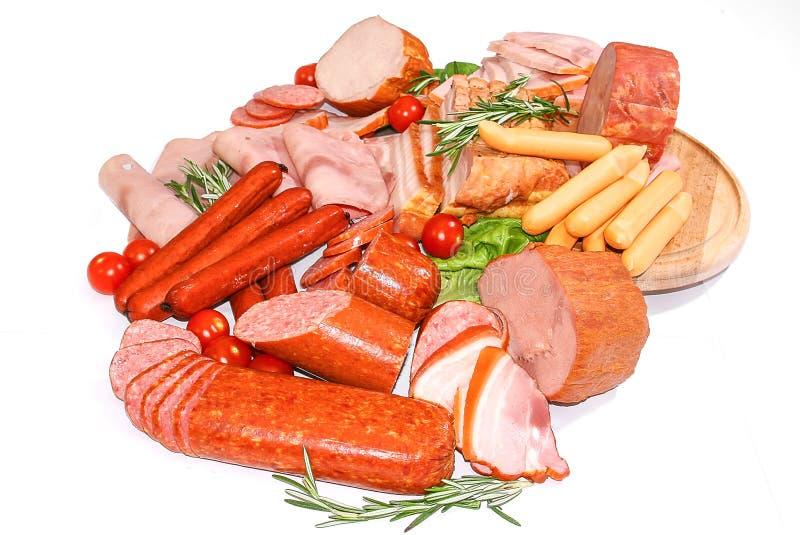 Vlees en worsten stock afbeeldingen