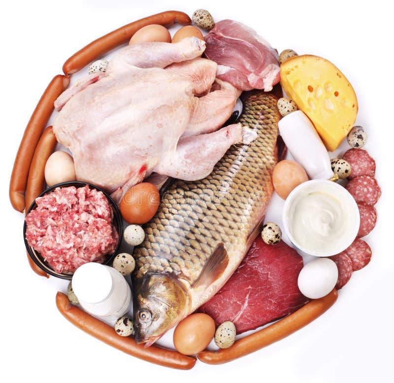 Vlees en zuivelproducten stock fotografie