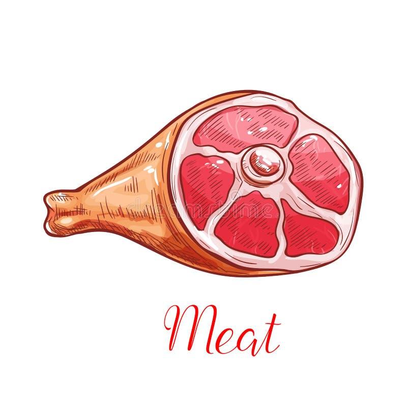 Vlees geïsoleerde schets met ham of varkensvleesbeen vector illustratie