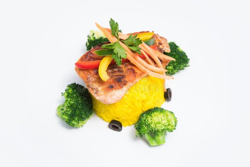 Vlees met Rijst & groenten royalty-vrije stock foto's