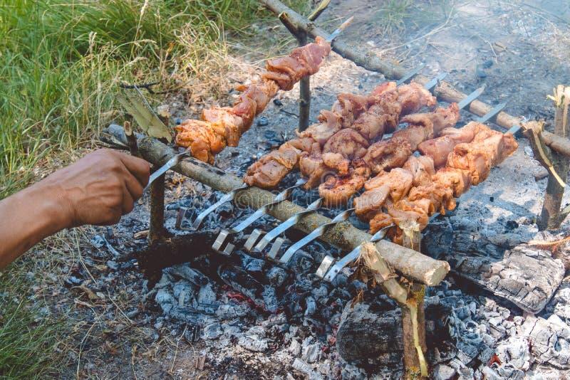 Vlees op vleespennen op brand die in aard wordt gekookt royalty-vrije stock fotografie