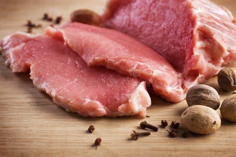 Vlees, Ruw Lapje vlees royalty-vrije stock fotografie
