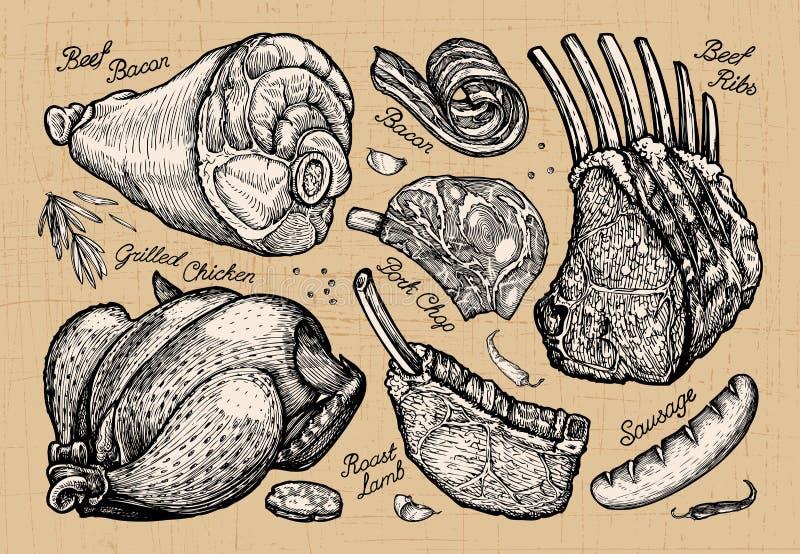 Vlees, slagerij hand-drawn schetsen van voedsel Vector illustratie royalty-vrije illustratie