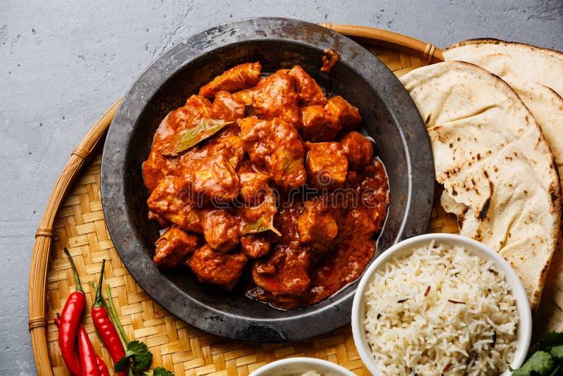 Vlees van de masala het kruidige kerrie van kippentikka royalty-vrije stock foto