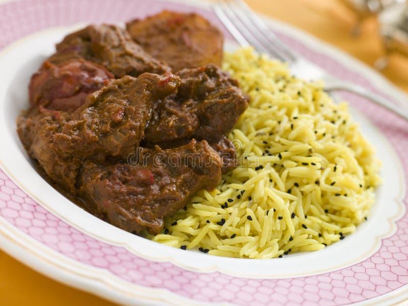 Vlees Vindaloo met de Rijst van het Pilau stock foto's