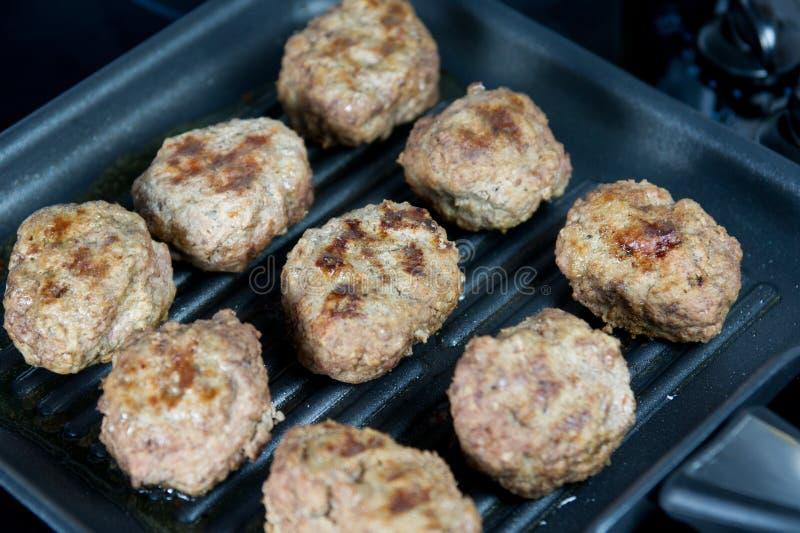 Vleesballetjes op de pan royalty-vrije stock foto's