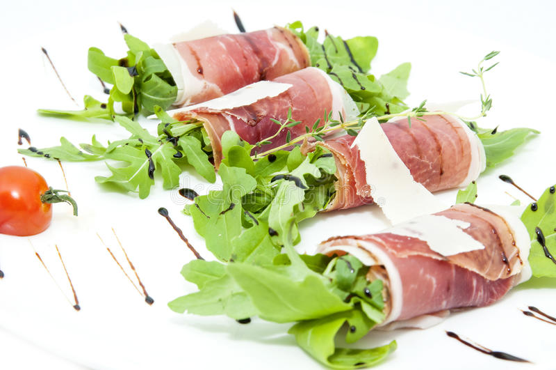 Vleesbroodjes met vlees en greens royalty-vrije stock foto's