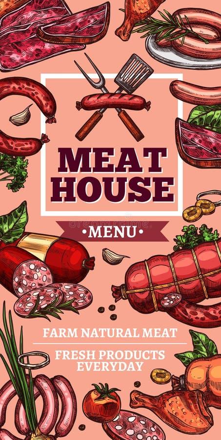 Vleesdelicatessen en worsten vectorschets royalty-vrije illustratie