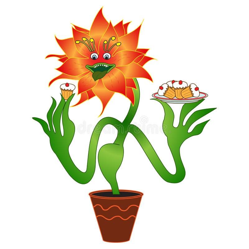 Vleesetende Vegetarische bloem, geanimeerde gourmand, Vectorfiguur E stock illustratie