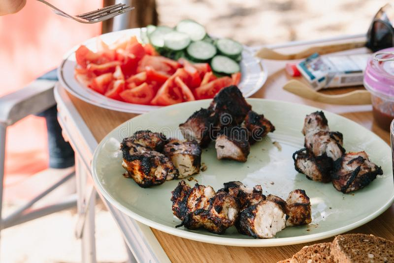 Vleeskebab op een plaat met groenten De zomerpicknick stock afbeelding