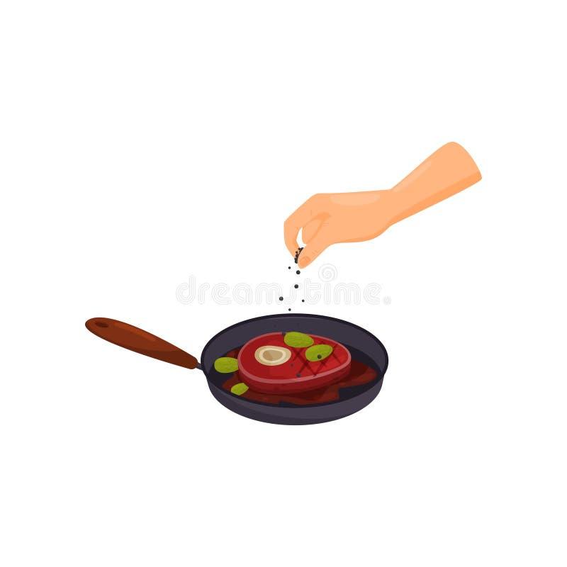Vleeslapje vlees het braden in een pan, vectorillustratie van het hand de kokende voedsel op een witte achtergrond vector illustratie