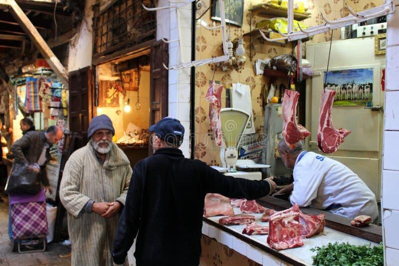 Vleesmarkt Fez Marokko royalty-vrije stock foto's
