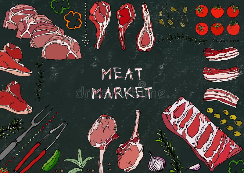 Vleesmarkt Vleesbesnoeiingen - Rundvlees, Varkensvlees, Lam, Lapje vlees, Achterdeel Zonder botten, Ribbenbraadstuk, Lendestuk en royalty-vrije illustratie