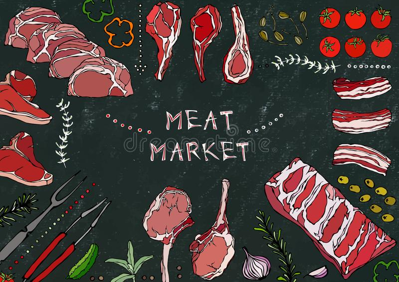 Vleesmarkt Vleesbesnoeiingen - Rundvlees, Varkensvlees, Lam, Lapje vlees, Achterdeel Zonder botten, Ribbenbraadstuk, Lendestuk en vector illustratie