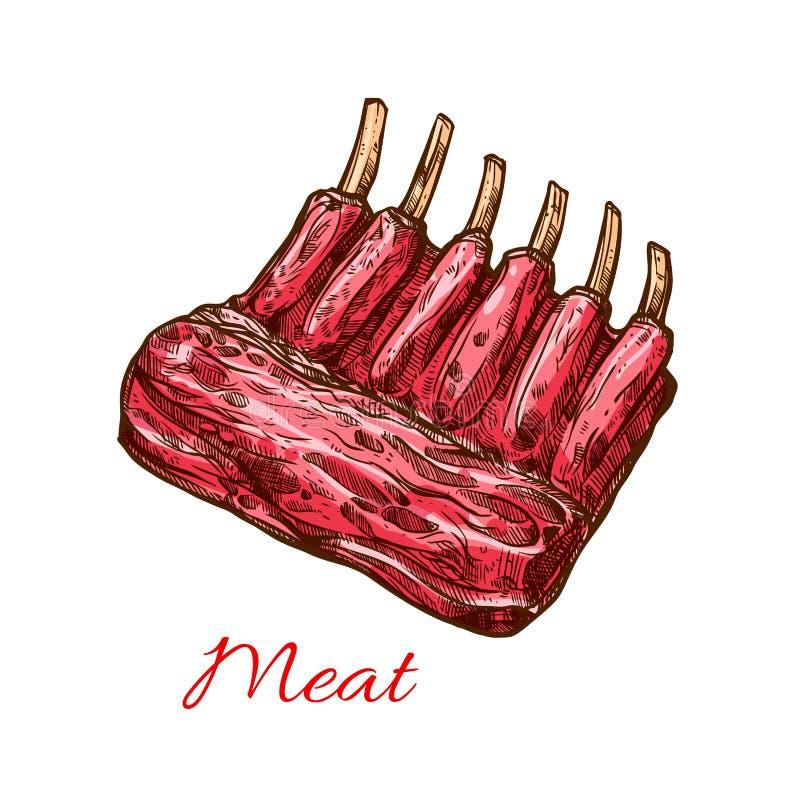 Vleesribben van varkensvlees, rundvlees of lam geïsoleerde schets royalty-vrije illustratie