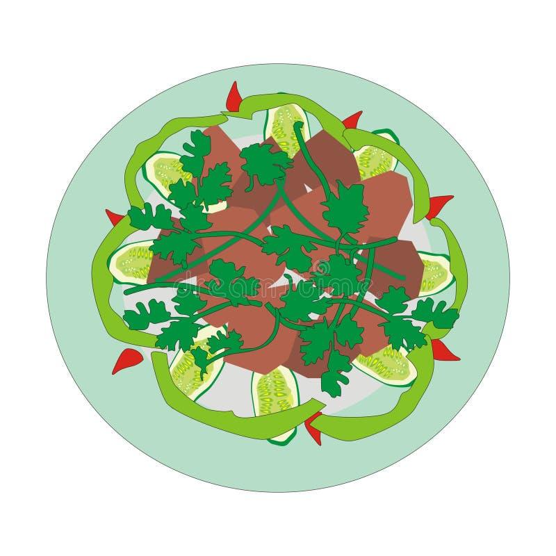 Vleesschotel stock illustratie