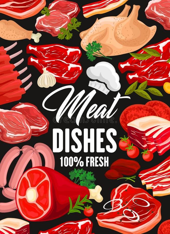 Vleeswaren, gevogelte en worst vector illustratie