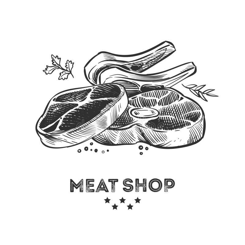Vleeswaren, verse beafsteak en ribbenhand getrokken vectorillustratie vector illustratie