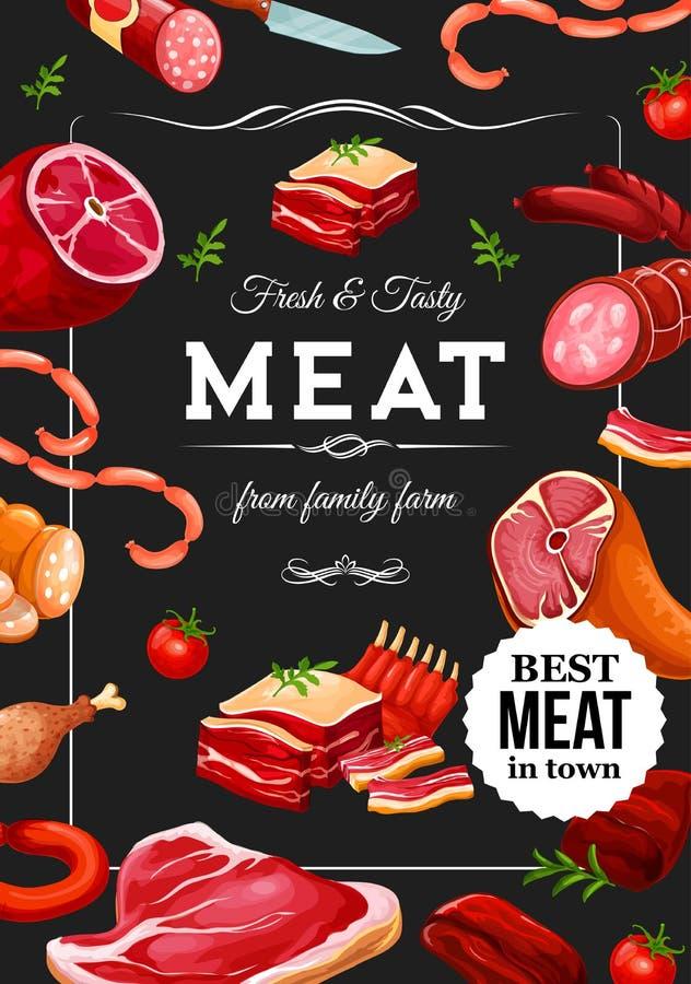 Vleesworsten, rundvlees en de slagerij van de varkensvleeslandbouwer royalty-vrije illustratie