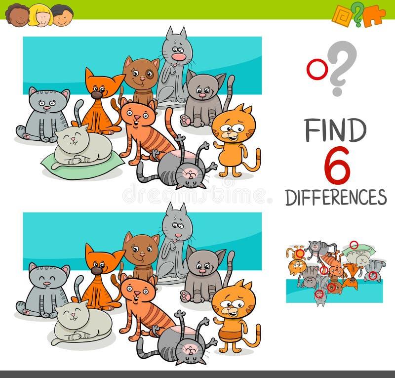 Vlek de verschillen met katten of katjes vector illustratie