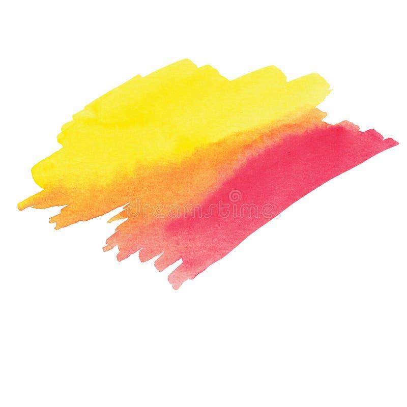 Vlek van de waterverf de gele magenta oranje vlek stock afbeelding
