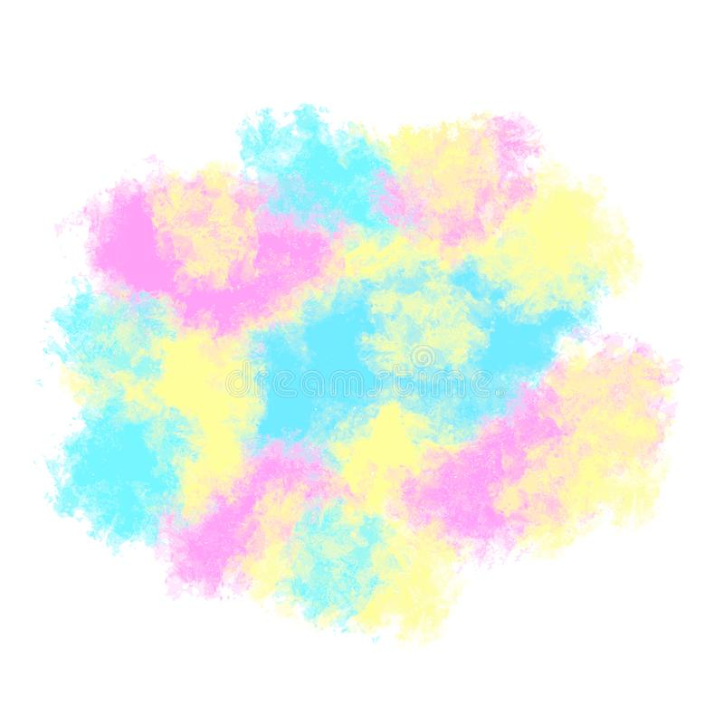Vlek van multi-colored verven, pluizige waterverfwolk Vector stock illustratie