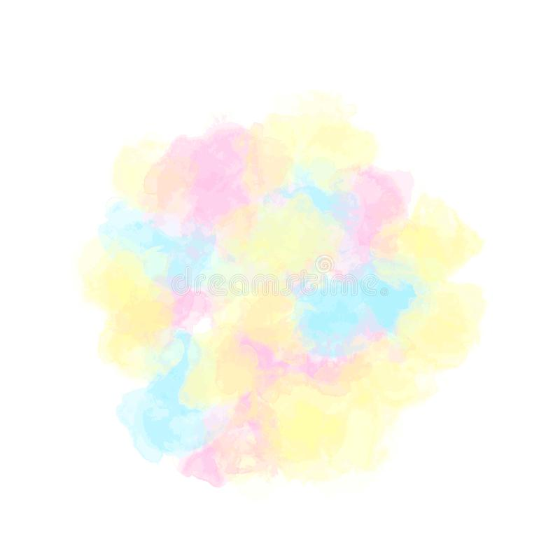 Vlek van multi-colored verven, pluizige waterverfwolk Vector vector illustratie