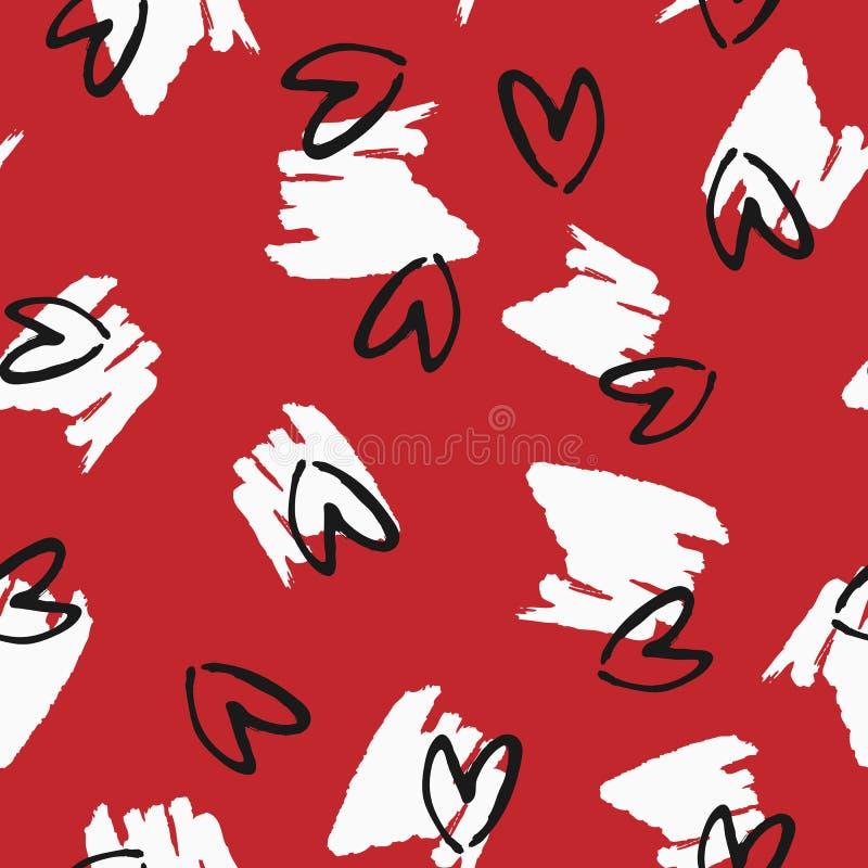 Vlekken en harten met een ruwe borstel met de hand worden getrokken die Grunge, schets, graffiti, inkt Naadloos patroon royalty-vrije illustratie