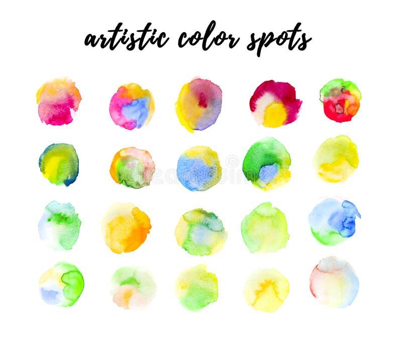 Vlekken van de waterverf de hand getrokken artistieke kleur, verfdalingen op witte achtergrond royalty-vrije illustratie